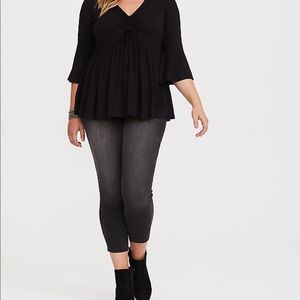 TORRID SUPER SOFT BLACK RUCHED BABYDOLL TEE